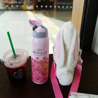 抖音网红兔子保温杯儿童学生水杯背带绳便携男女可爱毛绒杯套斜跨