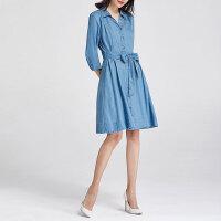 捷纯天丝连衣裙女裙子2021年新款夏季薄款A字裙polo领冰丝牛仔裙