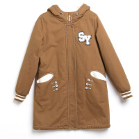 初中学生加绒加厚棉袄外套冬装新款韩版中长款少女棉衣女