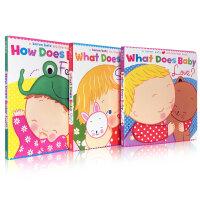Karen Katz What Does Baby Love?系列3本套装 A Lift-the-Flap Book say? Feel? Love?幼儿启蒙认知英文原版亲子读物 趣味玩具书 翻翻书