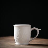 唐丰茶杯白瓷水杯会议杯泡茶杯浮雕陶瓷杯带盖大号礼品杯