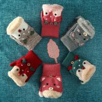 手套女冬季可爱保暖学生冬天露指写字半指圣诞