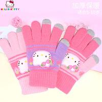 HelloKitty凯蒂猫儿童手套冬季新款女童手指套保暖春秋女孩毛线宝宝五指手套KT01B17013