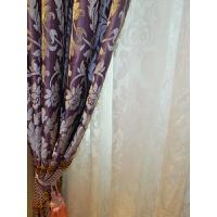 窗帘紫色雪尼尔提花别墅酒店家用客厅卧室窗帘L10定制 .