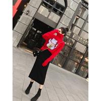 网红两件套装秋装新款2018韩版显瘦高领毛衣+针织包臀半身裙女潮 红衣黑裙 均码