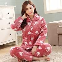 冬季女士三层加厚夹棉袄睡衣中老年女款法兰珊瑚绒夹棉家居服套装