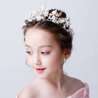 2018新款�和��^�皇冠女童公主王冠配�花童皇冠�l��l箍�l�AMYZQ52 金色