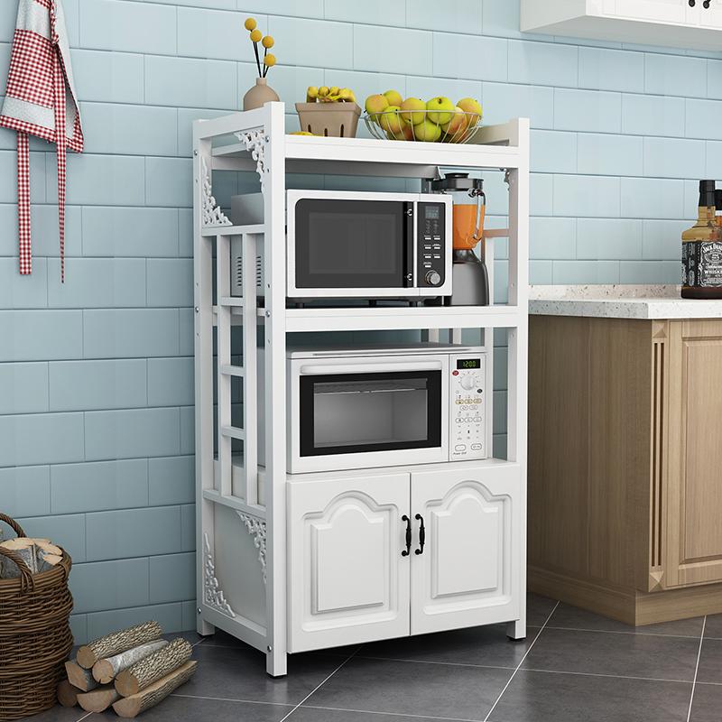 厨房微波炉置物架多层省空间三层多功能落地式收纳架欧式烤箱架子 四层70长 白架+白板 欧式门