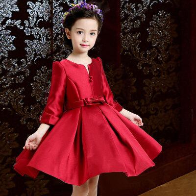 女童秋天套装女童秋装连衣裙2018新款韩版红色洋气儿童公主裙长袖生日礼服裙子wk-96 红色 V01送发箍