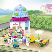 快乐小鲁班拼装积木 儿童拼插塑料玩具雪糕屋模型女孩6岁以上抖音