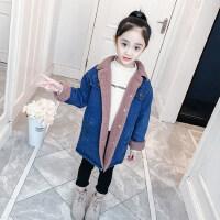 女童外套秋冬2018新款韩版洋气加绒秋装牛仔中长款儿童加厚大衣潮