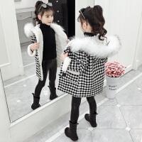 女孩冬装加绒加厚呢子大衣2019秋冬季新款洋气童装女童长款外套
