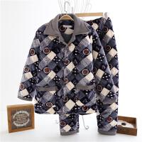 冬季珊瑚绒夹棉睡衣男法兰绒三层加厚保暖家居服中老年大码套装