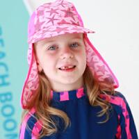 儿童沙滩遮阳帽宝宝户外防晒帽护颈帽防紫外线鬼子帽披风游泳帽
