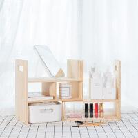 好货桌面收纳柜子办公桌上简易小书架置物架学生用实木多功能自由组合 松木原色 2层 图片色