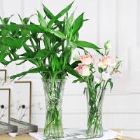 水培富贵竹百合透明玻璃花瓶大号圆形摆件插花餐客厅现代欧式简约
