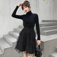 连衣裙两件套女2018秋冬新款韩版小香风气质针织衫+显瘦吊带裙潮 黑色