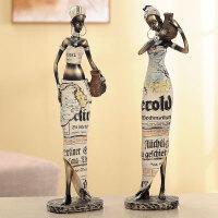 创意客厅摆件家居饰品树脂人物装饰品摆件工艺品非洲异域风情摆设创意家居装饰摆件