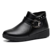 冬季新款妈妈鞋棉鞋女中老年人加绒女靴保暖平底短靴