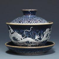 【优选】景德镇建盏盖碗茶杯大号陶瓷三才碗功夫茶具泡茶碗套装装茶道配件
