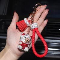 汽车钥匙扣挂件可爱小猪镶钻钥匙链奔驰宝马奥迪镶钻装饰包包挂饰