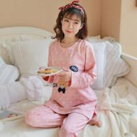 坐月子家居服女春秋孕妇睡衣中长款可爱产妇哺乳加肥长袖套装ZT-01