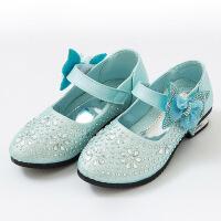 酷酷鼠冰雪奇缘女童高跟鞋公主鞋灰姑娘水晶鞋儿童包头皮鞋演出鞋2017款韩版秋季韩版中大童鞋