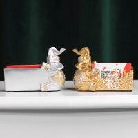创意礼品 高科技实用礼品收纳盒大象名片盒桌面名片座个性创意实用时尚收纳盒办公小摆件商务礼品