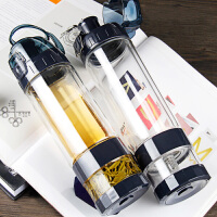 双层玻璃杯防漏带盖水杯水壶便携茶水分离泡茶杯户外运动