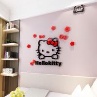 kitty猫3d立体亚克力墙贴纸儿童房间卧室电视背景墙自沾装饰贴画 超