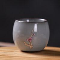 【品牌热卖】汝窑茶杯功夫茶具泡茶杯手工主人杯单个冰裂釉陶瓷品茗杯大号家用