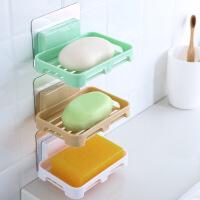 新款双层肥皂盒吸盘壁挂式香皂肥皂架家用沥水香皂盒免打孔置物架