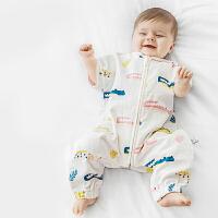 babycare睡袋婴儿春秋薄款新生儿宝宝纯棉纱布分腿睡袋儿童防踢被
