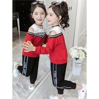 2019秋季新款童装时髦运动套装中大童女童洋气休闲两件套