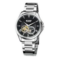 2017年新款 EYKI艾奇 全自动机械表 钢带手表 罗马刻度 男表 8628 黑盘银针