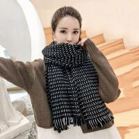 茉蒂菲莉 围巾 女士黑白格子保暖流苏围脖冬季新款韩版女式时尚休闲舒适百搭学生脖套
