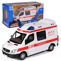 奔驰120紧急救护车合金回力汽车玩具 1:32声光版110警车模型XQB