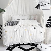 婴儿床上用品婴儿床品幼儿园被子三件套可爱白色荷叶边0.6m床上用品ZQ-YS020