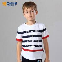 【两件1.3折价:21.7元】英格里奥童装夏装儿童T恤条纹短袖T恤LLB9502