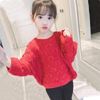 女童毛衣外套2018新款韩版时髦秋冬季上衣套头衫洋气针织毛线衣潮MYZQ75 红色 蝴蝶毛衣