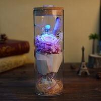 永生花礼盒玻璃罩蓝色妖姬玫瑰花保摆件情人节教师节礼物老师