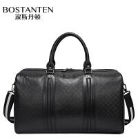 (可礼品卡支付)波斯丹顿真皮旅行包男士商务手提包牛皮行李包大容量单肩斜挎包健身包男包B10324