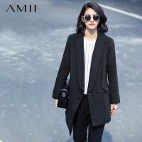 Amii[极简主义]纯色翻领不对称下摆大码长款毛呢外套11592049