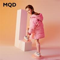 MQD童装女童加厚羽绒服保暖2019冬装新款儿童连帽中长款羽