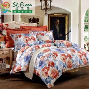 [当当自营]富安娜家纺纯棉四件套1.5米1.8米床印花套件 凯伦庄园 橙色 1.8m
