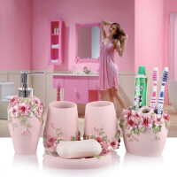 【好货】树脂卫浴五件套 创意浴室置物架洗漱套装家居肥皂盒漱口杯子卫生间用品香皂盒牙刷架结婚礼品