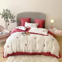 伊迪梦家纺 80支天丝四件套六件套 小清晰绣花夏凉床上用品套件YM88