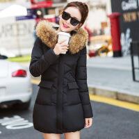 棉衣女秋冬季韩版中长款女士大毛领加厚大码修身棉袄外套 黑色 M