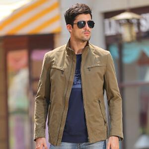 秋装新品 骆驼夹克 男士立领纯色外套 商务绅士夹克