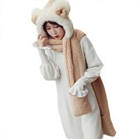 韩国帽子围巾一体手套三件套女冬天连帽韩版百搭冬季皮草加厚保暖 可调节